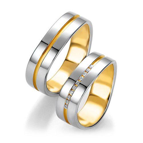 Обручальные кольца из белого и желтого золота