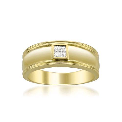 Кольцо обручальное мужское с бриллиантами