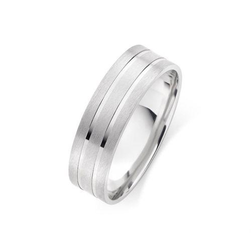 Мужское обручальное кольцо матовое с двумя глянцевыми линиями