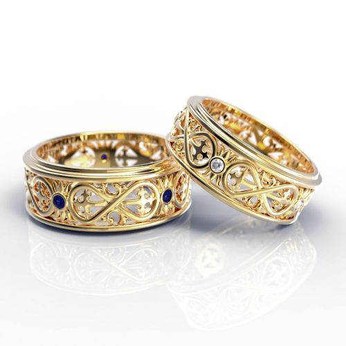 Обручальные платиновые кольца с символом бесконечности