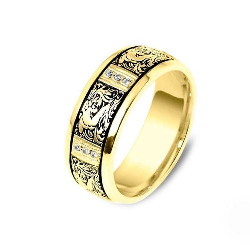 Обручальное кольцо с бриллиантами по индивидуальному эскизу