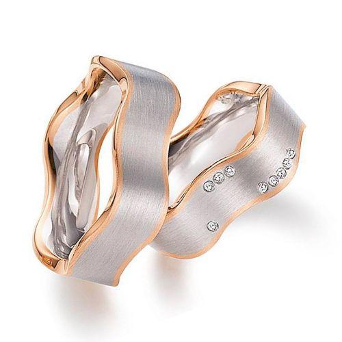 Обручальные кольца из белого и красного золота с бриллиантами волнистой формы