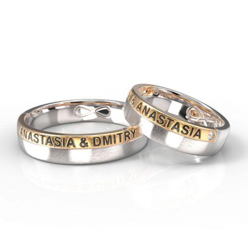 Обручальные кольца из комбинированного золота с именами