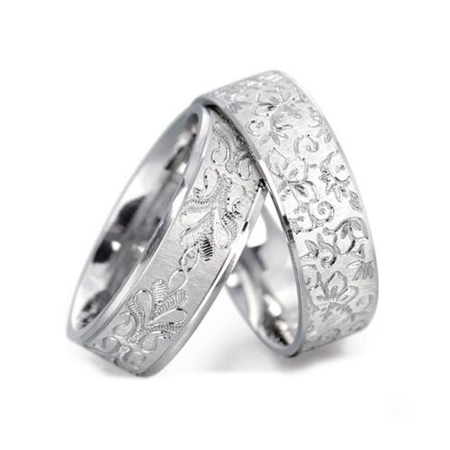 Обручальные кольца из белого золота с узором