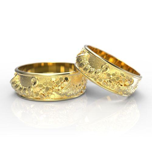Обручальные парные кольца с объемным узором из белого золота