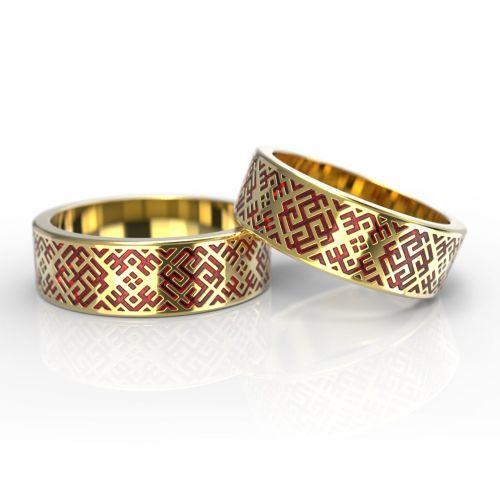 Парные обручальные кольца с символикой из желтого золота и эмалью