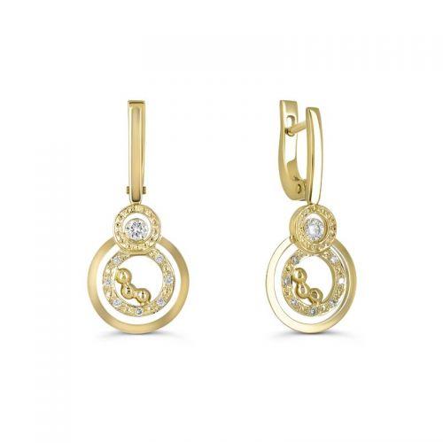 Золотые серьги с бриллиантами в стиле Chopard