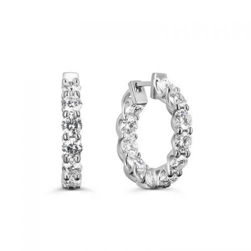 Золотые серьги-конго с бриллиантами по кругу