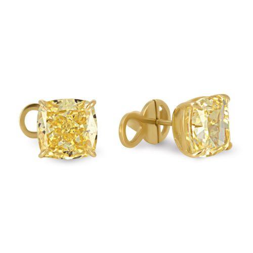 Пусеты с желтыми бриллиантами