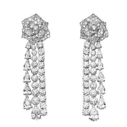 Серьги Rose UvelirMoscow Premium из белого золота с бриллиантами
