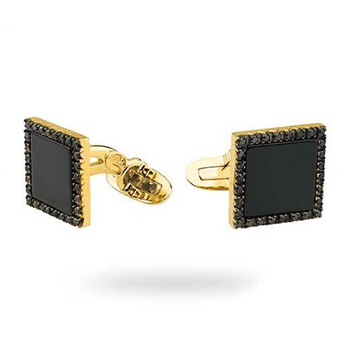 Золотые запонки с агатом и черными бриллиантами Z-1