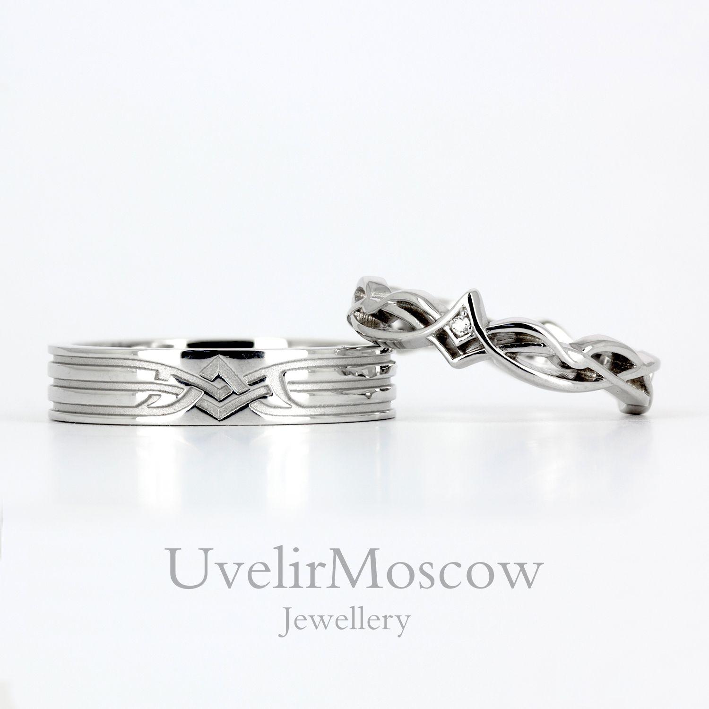 Оригинальные парные обручальные кольца с узором 37984a35560