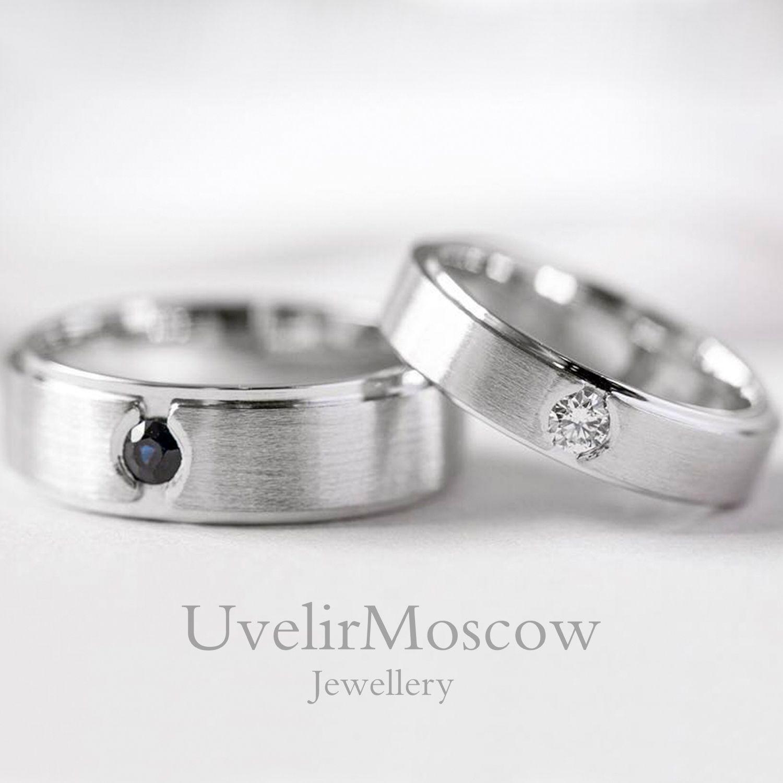 6e84cb7a6496 Обручальные кольца из белого золота бриллиантом и сапфиром