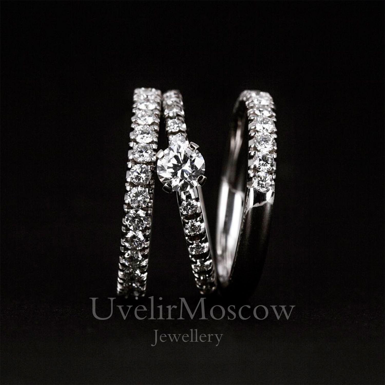 Комплект бриллиантовых колец из белого золота (обручальное и помолвочное) 1ed66bc2eb4