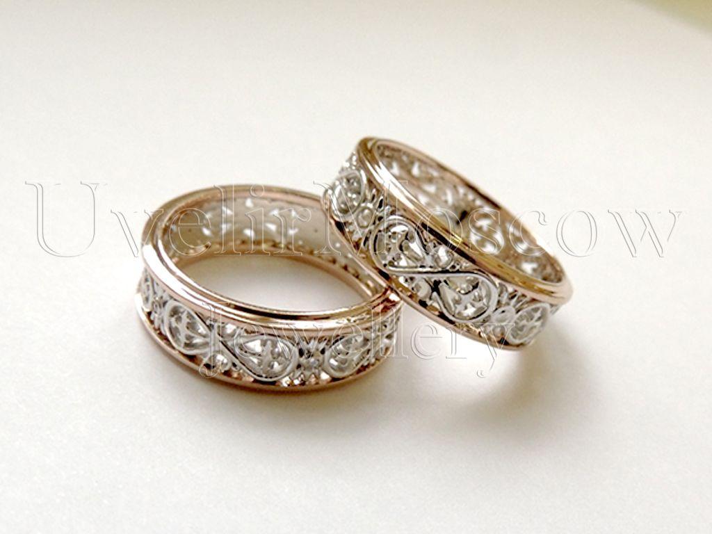 63ecca96fadb Обручальные кольца из комбинированного золота с узором «Бесконечность»